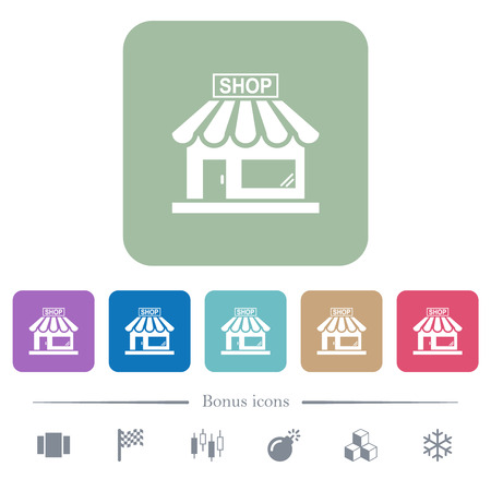 Store front white flat icons on color rounded square backgrounds. 6 bonus icons included