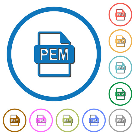 PEM file format flat color vector icons with shadows in round outlines on white background