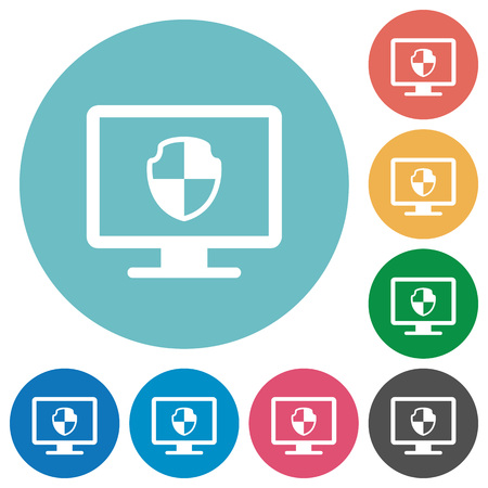 Computer security flat white icons on round color backgrounds