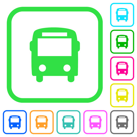 Bus vivid colored flat icons in curved borders on white background Иллюстрация