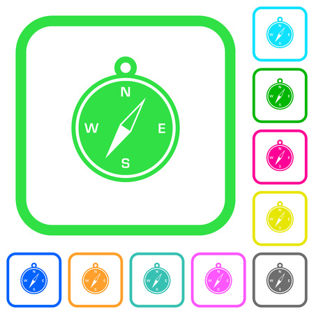 Compass vivid colored flat icons in curved borders on white background