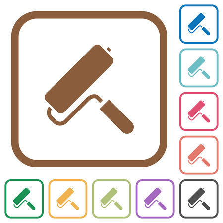 Paint roller simple icons in color rounded square frames on white background