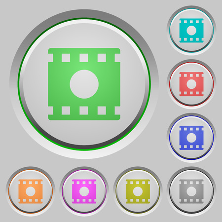 Movie record color icons on sunk push buttons