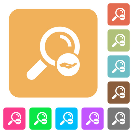 Search services flat icons on rounded square vivid color backgrounds.