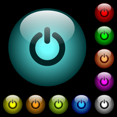 Power switch icons in color illuminated spherical glass buttons on black background. Can be used to black or dark templates