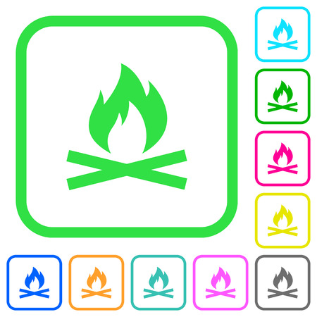Camp fire vivid colored flat icons in curved borders on white background