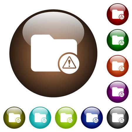 Verzeichnis, das weiße Symbole auf runden Farbglastasten warnt Vektorgrafik