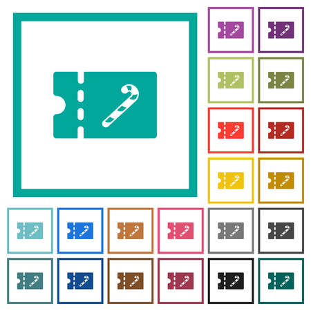 Sweet shop discount coupon flat color icons with quadrant frames on white background