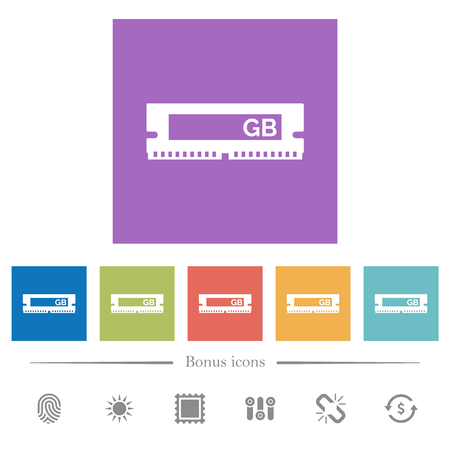 RAM memory module flat white icons in square backgrounds. 6 bonus icons included.