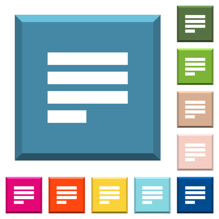 Text align justify last row left white icons on edged square buttons in various trendy colors Illustration