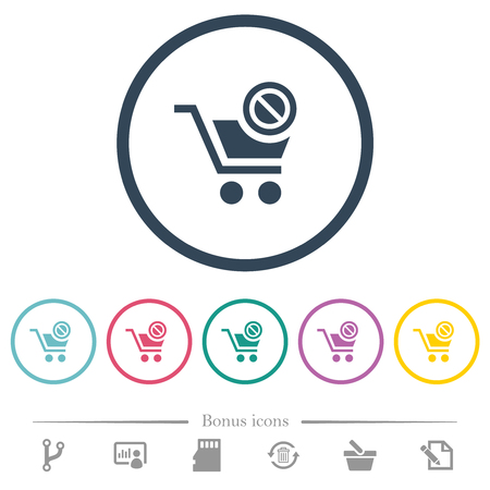 Product not available flat color icons in round outlines. 6 bonus icons included.