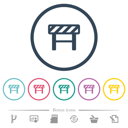 Construction barrier flat color icons in round outlines. 6 bonus icons included.