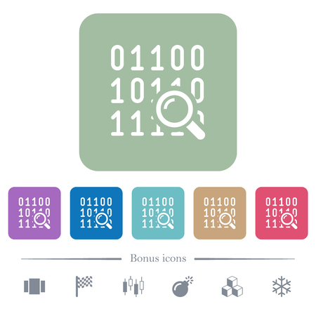 Code analysis white flat icons on color rounded square backgrounds. 6 bonus icons included Illustration