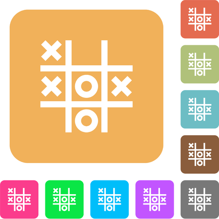 Tic tac toe game flat icons on rounded square vivid color backgrounds. Çizim