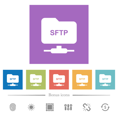 FTP over SSH flat white icons in square backgrounds. 6 bonus icons included.