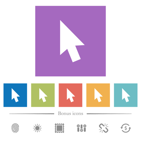 Mouse cursor flat white icons in square backgrounds. 6 bonus icons included. Illustration