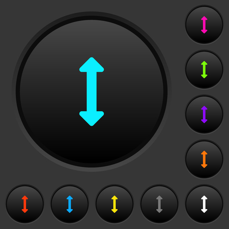 Resize vertical dark push buttons with vivid color icons on dark grey background