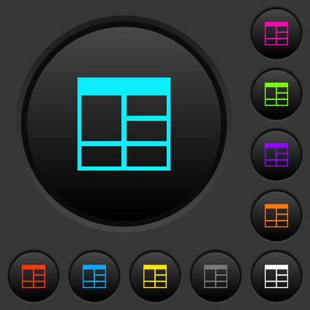 Spreadsheet vertically merge table cells dark push buttons with vivid color icons on dark grey background