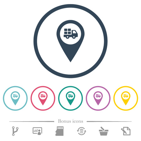 Transport service GPS map location flat color icons in round outlines. 6 bonus icons included. Illustration