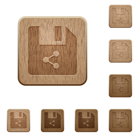 Share file on rounded square carved wooden button styles Ilustrace