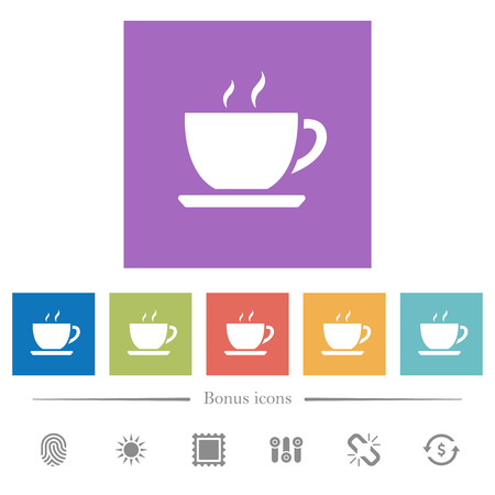 Cup of coffee flat white icons in square backgrounds. 6 bonus icons included.