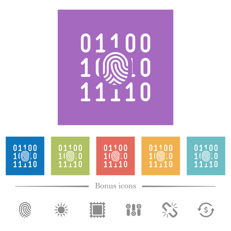 Digital fingerprint flat white icons in square backgrounds. 6 bonus icons included.