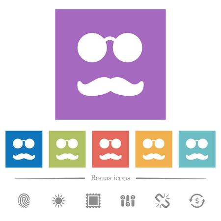 Glasses and mustache flat white icons in square backgrounds. 6 bonus icons included.
