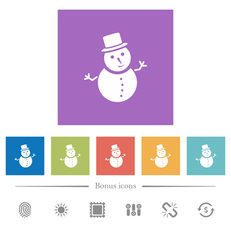 Snowman flat white icons in square backgrounds. 6 bonus icons included.