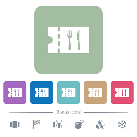 Dinner discount coupon white flat icons on color rounded square backgrounds. 6 bonus icons included