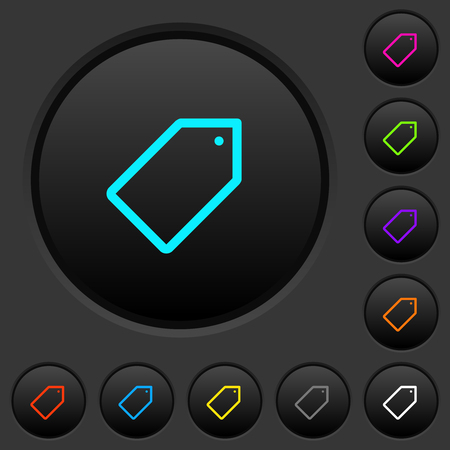 Single tag dark push buttons with vivid color icons on dark grey background