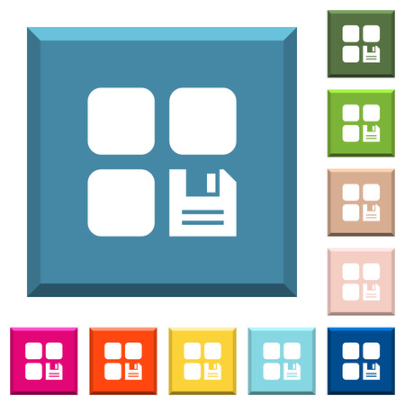 Save component white icons on edged square buttons in various trendy colors Иллюстрация