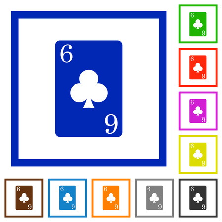 Six of clubs card flat color icons in square frames on white background Illustration