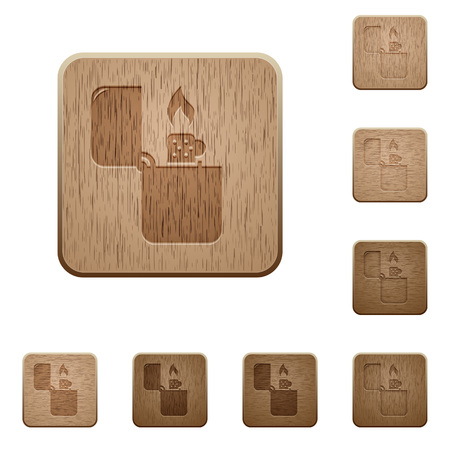 Lighter on rounded square carved wooden button styles