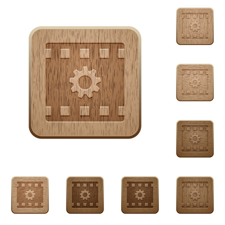 Movie settings on rounded square carved wooden button styles