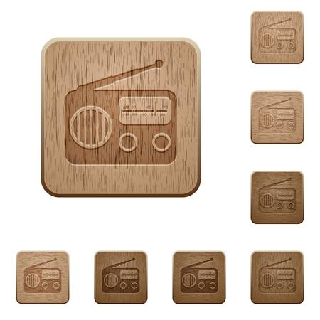 Vintage retro radio on rounded square carved wooden button styles Ilustração
