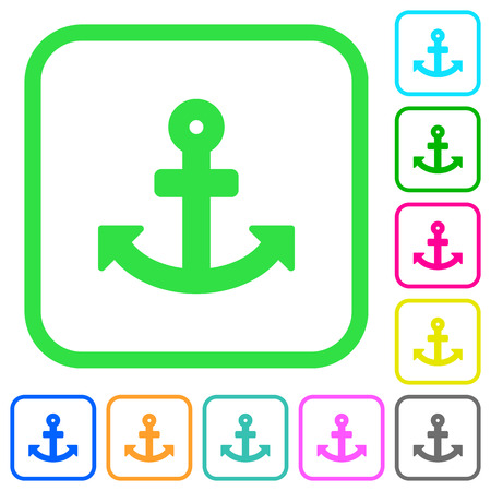 Anchor vivid colored flat icons in curved borders on white background