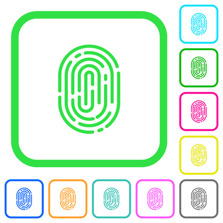 Fingerprint vivid colored flat icons in curved borders on white background
