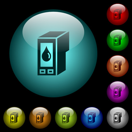 Ink cartridge icons in color illuminated spherical glass buttons on black background. Can be used to black or dark templates