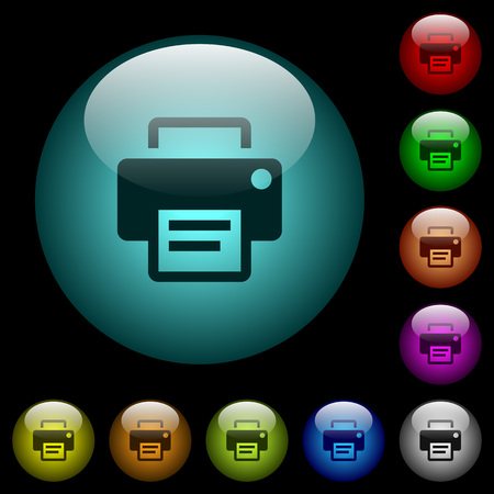 Printer icons in color illuminated spherical glass buttons on black background. Can be used to black or dark templates