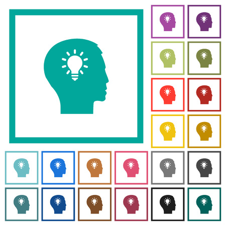 Idea flat color icons with quadrant frames on white background