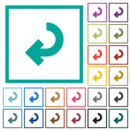 Return arrow flat color icons with quadrant frames on white background