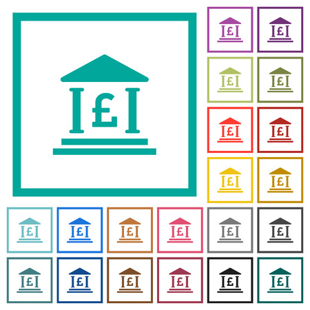 Pound bank office flat color icons with quadrant frames on white background
