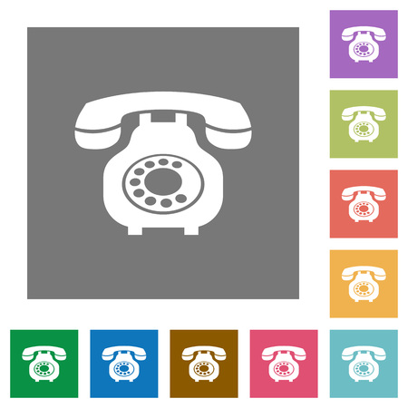 Vintage retro telephone flat icons on simple color square backgrounds
