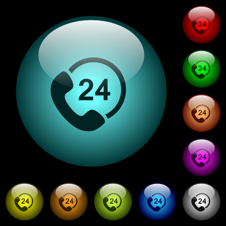 All day service icons in color illuminated spherical glass buttons on black background. Can be used to black or dark templates Иллюстрация