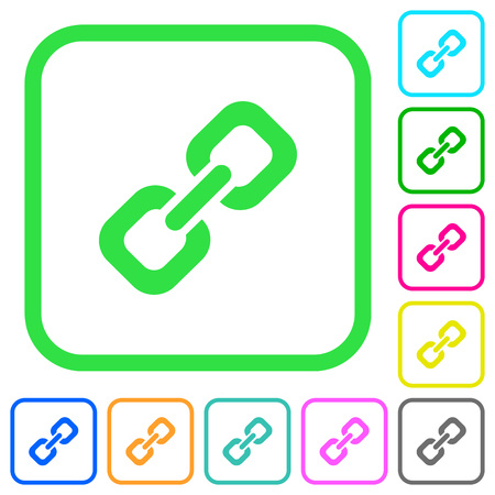 Link vivid colored flat icons in curved borders on white background