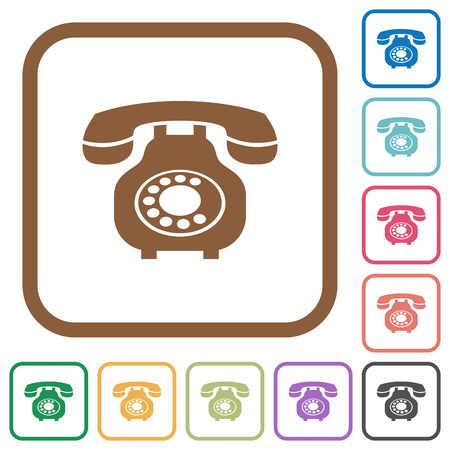 Vintage retro telephone simple icons in color rounded square frames on white background