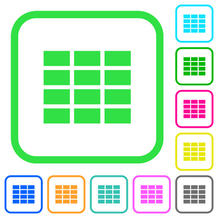 Spreadsheet vivid colored flat icons in curved borders on white background
