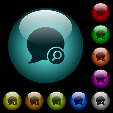 Find blog comment icons in color illuminated spherical glass buttons on black background. Can be used to black or dark templates