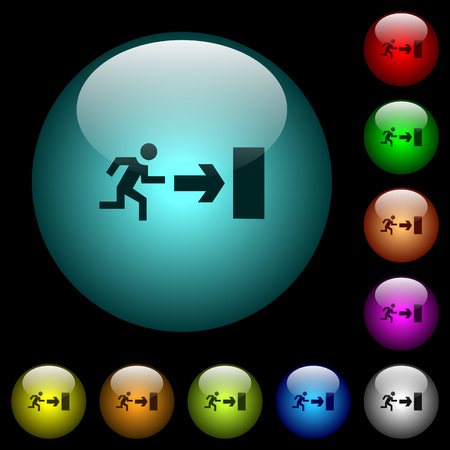 Exit sign icons in color illuminated spherical glass buttons on black background. Can be used to black or dark templates