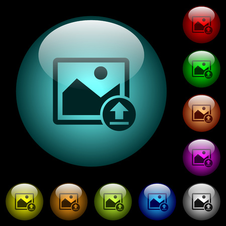 Upload image icons in color illuminated spherical glass buttons on black background. Can be used to black or dark templates
